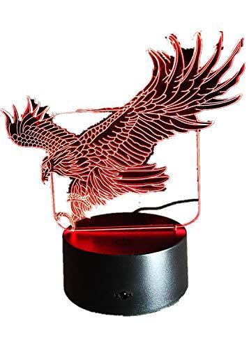 3D Adler Nacht Licht 7 Bunte Hawk 3D Cartoon EinhornTisch Lampe für Büro Hotel Schlafzimmer Bar Stimmung Dinosaurier Lampe Adler Eine Größe -