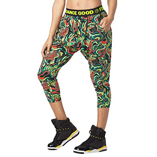 Zumba Fitness Damen Women\'s Soft Breathable Activewear Harem Capri Workout Pants Trousers, Teal Me Everything, L