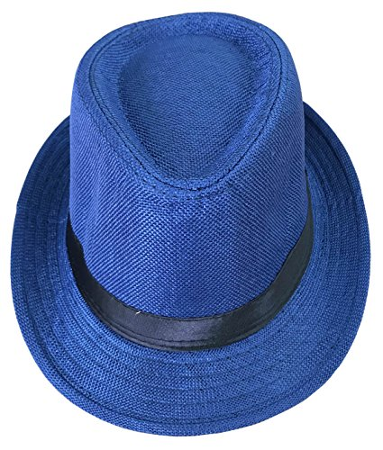 CLUB CUBANA Fedora Hüte Für Männer, Frauen, Unisex, Trilby Hut, Panama-Stil, für Sommer, Strand, Sonne, Jazz-Cap Königsblau
