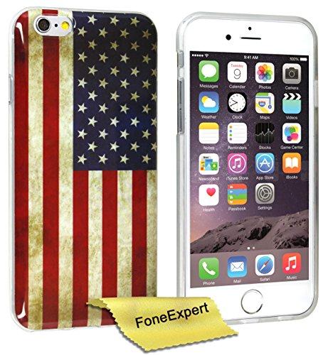 FoneExpert® iPhone 6 - Etui Housse Coque TPU Gel Cover Case pour Apple iPhone 6 (4.7inch) + Film de Protection d'Ecran (Fleur 3) USA flag