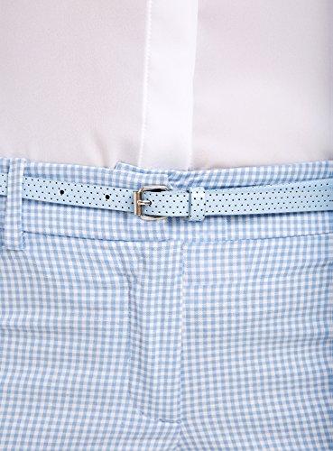 oodji Ultra Donna Pantaloni a Scacchi con Cintura Blu (1270C)