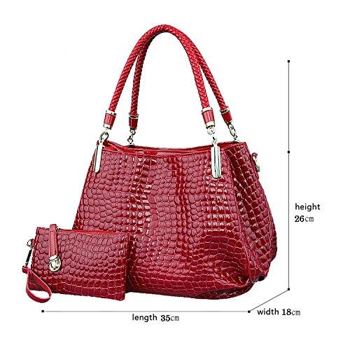 H&S Nuovo Femminile Borse Moda coccodrillo grano Borsa a mano Stile Casual Set di 2 borse Borsa messenger + Portafoglio vino rosso