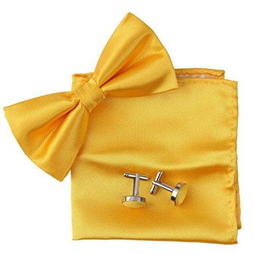 BT2016 Gold Plain Perfekte Rack Fantastische Designer Silk Vorgebundenen Bowtie Manschettenkn?pfe Hanky ??Dress Shirt Von Epoint (Herren Trachten Australien)