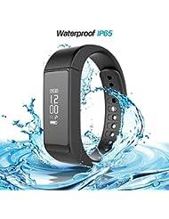 iWOWN i5 Plus Smart Armband Bluetooth 4.0 Fitness Tracker Smart Armbanduhr Herzfrequenzmesser Schrittzähler Sport Wristband Wasserdicht mit OLED Touchscreen Schlafmonitor Kalorienzähler Anrufe SMS SNS Sedentary Alert Remote Shoot Anti-Verloren für Android IOS App