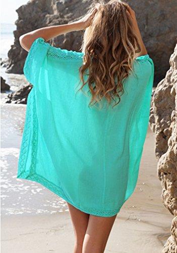 EAAMU® Damen Frauen Sommer große größen Strandkleid V-Ausschnitt Bikini Cover Up Sommerkleider Onesize Minikleider Weiß