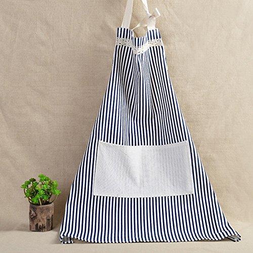 Kreide Stripe verstellbar Lätzchen Schürze–mit praktischer? Pocket, langlebige Stripe–Für Kochen, Grill und Backen, baumwolle, blau, 30*23 Pocket-kreide