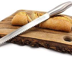 Brotmesser Edelstahl 35cm - langes Brotsäge Messer mit Wellenschliff