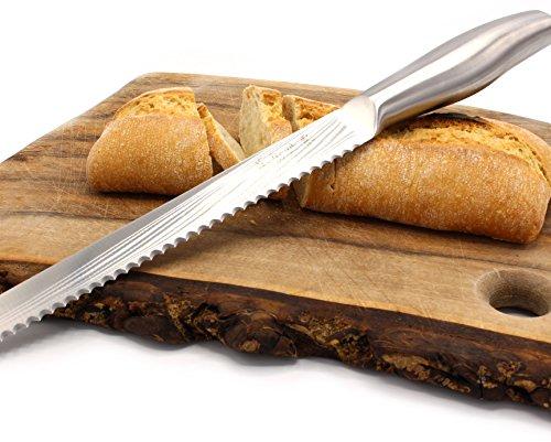 Brotmesser Edelstahl 35cm - langes Brotsäge Messer mit Wellenschliff - 10 Jahre Garantie