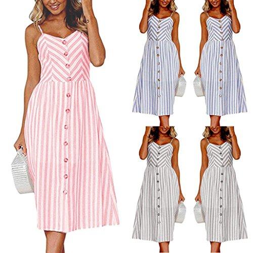 Clearance! Toamen Women's Summer Dress - Off Shoulder - Stripe Buttons - Sexy Fashion Sleeveless Sling Evening Party Work Princess Long Dress