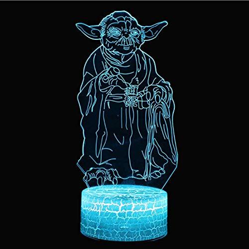 Optische Täuschungslampe Star Wars Yoda Master Thema 3D Lampe LED Nachtlicht 7 Farbwechsel Touch Mood Lampe (Star Wars Bar-thema)