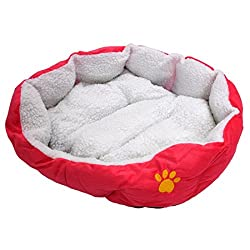 TOOGOO(R) Luxury Unique Warm Indoor Soft Pet Dog Cat Puppy Sofa House Bed with Mat Cushion Dog Supplies L Rose