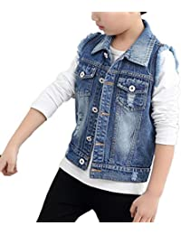 7a1c67acda5e LaoZan Boys Denim Gilets Sleeveless Jacket Vest Denim Waistcoat Distressed  Jean Gilets Blazer