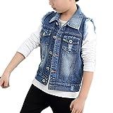 Enfants Garçon Jean Veste Sans Manche Gilet Jean Veste Cowboy Blouson Denim Coat Manteau Bleu 110CM