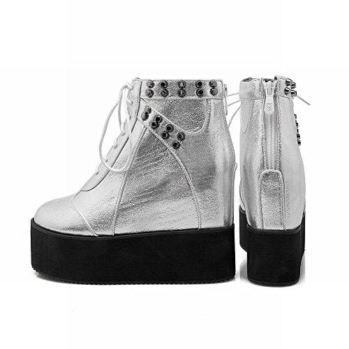 MissSaSa Donna Scarpe col Tacco Flatform Alto Punk Fashion Shoes Argento