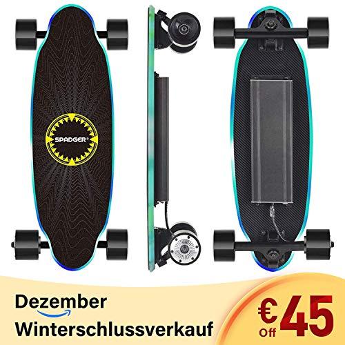 Spadger D5X - Elektro Skateboard, E-Skateboard mit LED-Licht und Fernbedienung, 250W bürstenloser Motor, Stoßfest Design, Reichweite bis zu 15 KM*, Für Erwachsene Jugendliche