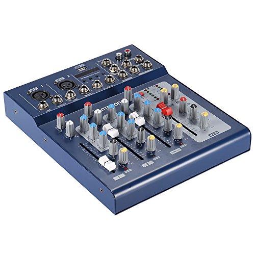 Ammoon® F4-USB 3-Kanal-Digital-Audio-Mischpult mit 48-V-Phantomspeisung für DJ-Aufzeichnung, Bühne, Karaoke, Musicals -