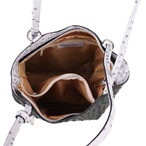 Borsa a Spalla da Donna Stampa Struzzo in Vera Pelle Made in Italy Chicca Borse 28x30x9 Cm Nero - Grigio