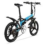 LETFF - Bicicleta eléctrica Plegable para Adulto, 48 V, batería de Litio de 7 velocidades, para Hombres y Mujeres, Mini Bicicleta eléctrica Plegable, Azul