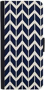 Snoogg Navy White Line Waves 2502 Designer Protective Flip Case Cover For Sam...
