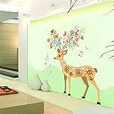 Bomeautify Wandtattoos Wandbilder Zeichnung cartoon Kinderzimmer Weihnachten Dekoration Schlafzimmer Hintergrund Wand Fenster Glas Weihnachten Aufkleber Hirsch, 60 * 90cm