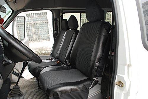 WOLTU AS7323 Housse de siège pour camionnette couverture de siège de camion en polyester et imitation cuir,Noir Gris