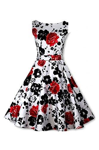Eudolah Robe Vintage à imprimé des fleurs Rockabilly Swing style des années 70 Femme Noir Rouge