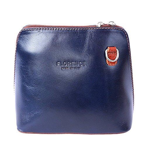 Florence Leather Market, Borsa a tracolla donna Small Dunkelblau/Braun