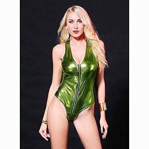 Effet mouillé Body Fermeture Éclair Cuir verni Bikini Nuit, Stage Show Perspective Maillot de bain M Green