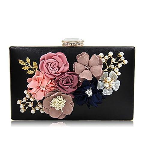 Milisente Women Clutch Bags Flower Evening Bag Wedding Handbag Clutches Purse (Black)