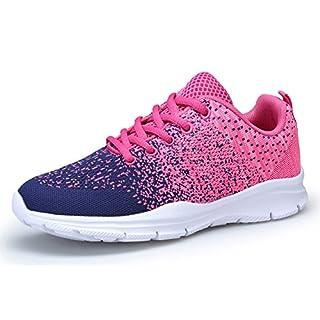 KOUDYEN Damen Laufschuhe Atmungsaktiv Turnschuhe Schnürer Sportschuhe Sneaker,XZ746-W-pinkblue-EU40