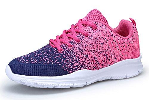 KOUDYEN Scarpe da Ginnastica Donna Sportive Scarpe Corsa Running Respirabile Fitness Sneakers (EU39, Azzurro Rosa)