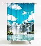 Duschvorhang Wasserfall 180 x 180 cm, hochwertige Qualität, 100% Polyester, wasserdicht, Anti-Schimmel-Effekt, inkl. 12 Duschvorhangringe