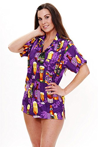 Original King Kameha   Funky Hawaiibluse Hawaiihemd   Damen   XS - 6XL   Kurzarm   Front-Tasche   Hawaii-Print   Bierflaschen Party Strand   Violett Violett