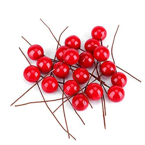 Xiton Künstliche Frucht-Beeren 100Pcs Mini Frosted Holly Berry Weihnachtsdeko Rote Simulations-Frucht-Berry Holly Berry