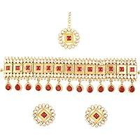 عقد نسائي من تتش ستون بتصميم هندي من الأحجار الكريمة الكلاسيكية والكريستالية بتصميم الكوندان البولكي التقليدي