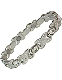 MPS® Exlusive Ladies Magnetic Bracelet with With Crystals and Strong 3,000 gauss Neodymium Magnets + FREE Links Removal Tool