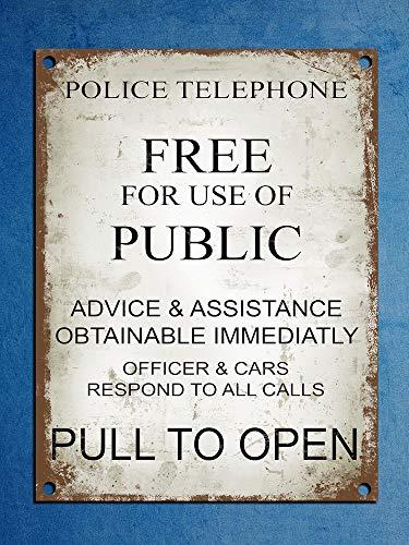 Placa Metal Estilo Retro Vintage teléfono policía