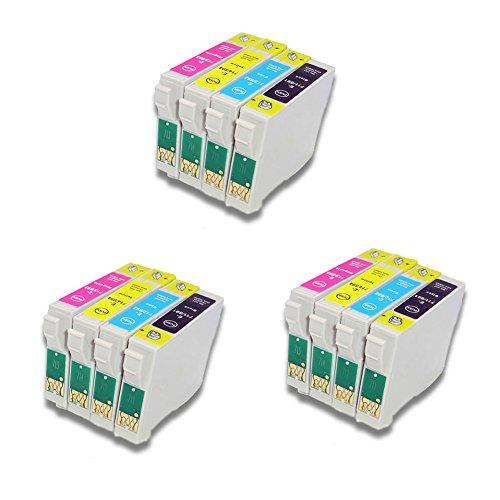 Generisches Kompatible Tintenpatrone als Ersatz für Epson T0711 T0712 T0713 T0714 (3x Schwarz, 3x Cyan, 3x Magenta, 3x Gelb, 12er-Pack)