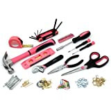 Apollo Precision Tools 126 Piece Pink Home Tool Kit with Picture Hanging Fastener Assortment