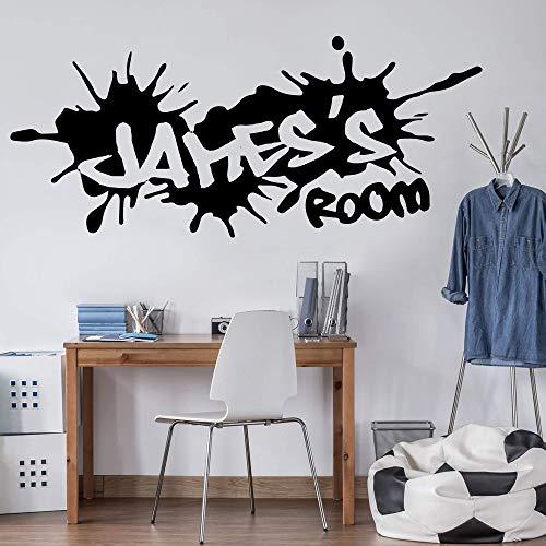 hetingyue Benutzerdefinierte Name Graffiti Street Culture Wandaufkleber Benutzerdefinierte Name Graffiti Boy Schlafzimmer Kindergarten Vinyl Wandtattoo Dekoration 100x43 cm
