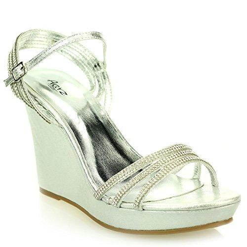 Donne Le signore Open Toe Cinturino alla caviglia Diamante Sera