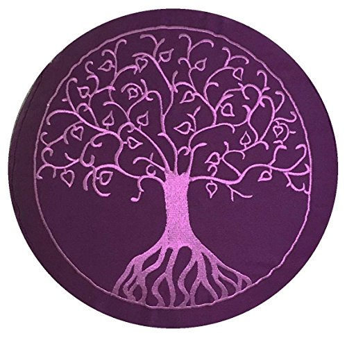maylow - Yoga mit Herz Yogakissen mit Stickerei Baum Des Lebens Meditationskissen, Violett, 33 x 15 cm