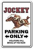 Novedad signo regalo señal de aparcamiento Jockey Carreras de Caballos Derby Rider regalo Hipódromo Silks Rider Racer Sign Patio aluminio Metal Sign decorativo para habitación, oficinas