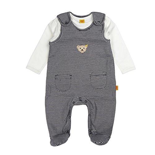 Steiff Unisex - Baby Bekleidungsset Strampler + T-Shirt 1/1 Arm, Gestreift, Gr. 50, Blau (Steiff Marine Blue 3032)