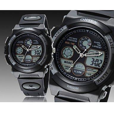 FENKOO Herren Armbanduhr digital LED/Kalender/Chronograph/Wasserdicht Caucho Band Schwarz Marke- OHSEN