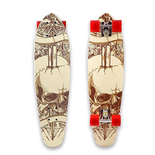 WeSkate 71cm Mini-Cruiser-Board, Retro Skateboard, breite Cruiser-Skateboard und Aluminium Trucks ABEC-7 Kugellager, aus 9-lagigem kanadischem Ahornholz, mit rutschfestem Deck