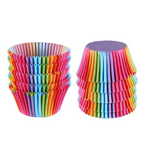 veylin 200Stück Rainbow Cupcake Fällen Muffin Fällen für Küche Backen Hochzeit Geburtstag Party Dekoration, 5* 3,5cm