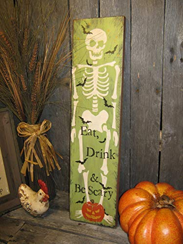 popeven Großes Holzschild für Halloween, Skelett Eat Drink Be Scary Pumpkins Fledermäuse Country Folkart Holzschild Home Wall Art Dekoration Schild Geschenk
