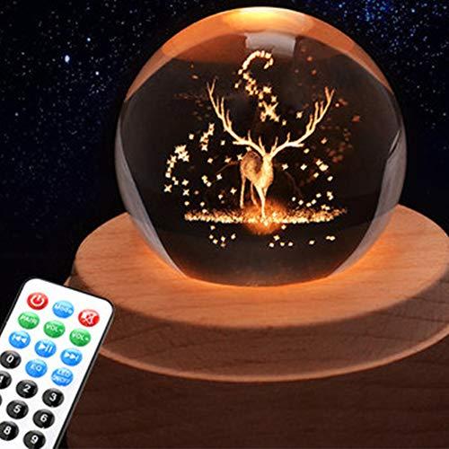 AIBAB Elch Strahlend Rotierende Kristallkugel Spieluhr Bluetooth Fernbedienung Sky City Spieluhr Geschenk Dekoration Boutique-Verpackung Und Grußkarten 10 × 10 × 13 cm