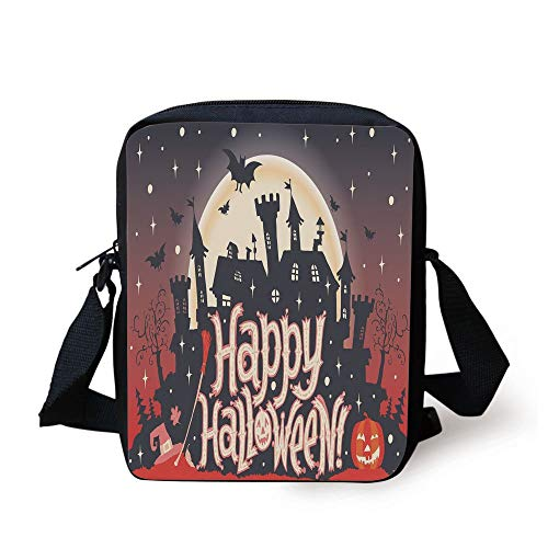 Halloween,Medieval Gothic Castle with Happy Halloween Typography Stars Bats Moon Cheerful,Multicolor Print Kids Crossbody Messenger Bag Purse